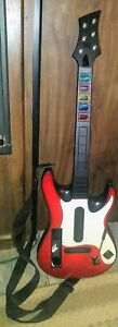 Nintendo Wii Guitar Hero White Red Octane Guitar With Strap *No Dongle*