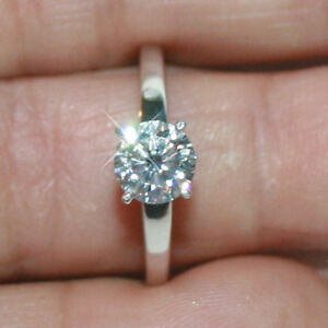 0c6c37bd79b44 Details about Diamond Alternatives Solitaire Engagement Promise Ring White  14k Gold over 925SS