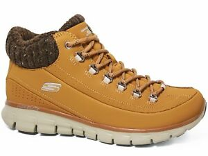 Details zu Skechers Synergy Winter Nights Damen Boots Sneakers Leder Wheat Braun 12122WTN