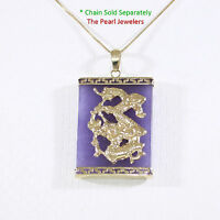14k Solid Yellow Gold Hand Crafted Dragon 22x30mm Lavender Jade Pendant 1.25