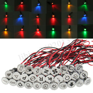 SPIA-LED-12V-14MM-Metallo-LUCE-LED-Auto-Barca-Moto-Lampada-Indicator-Light-Filo