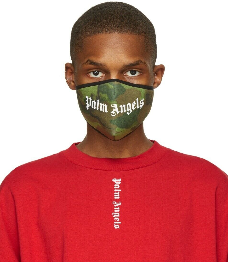 Palm Angels Green Camo Logo Mask 100% Authentic