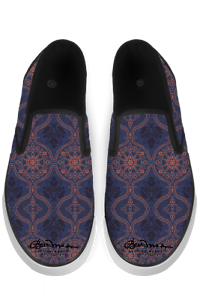 Sargasso bluee and Mellow pink Morrocan Damask Slip On Sneakers
