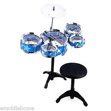 Wanyi Kids Deluxe Jazz Drums Kit Musical Instrument Toy Cymbal Stool Gift blue