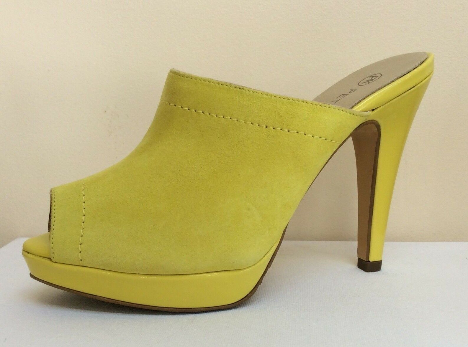 Peter Kaiser Palia lemon-yellow suede/patent mules, UK 4/EU 37,    BNWB