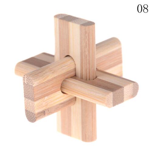 IQ Brain Teaser Kong Ming Lock Wooden Interlocking Burr 3D Puzzles Game Toy BH