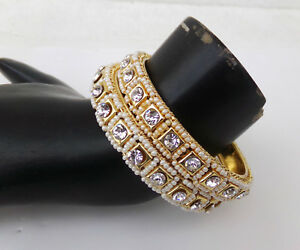 Bollywood Golden Pearl Bangles Ethnic South Indian Jewelry Fashion