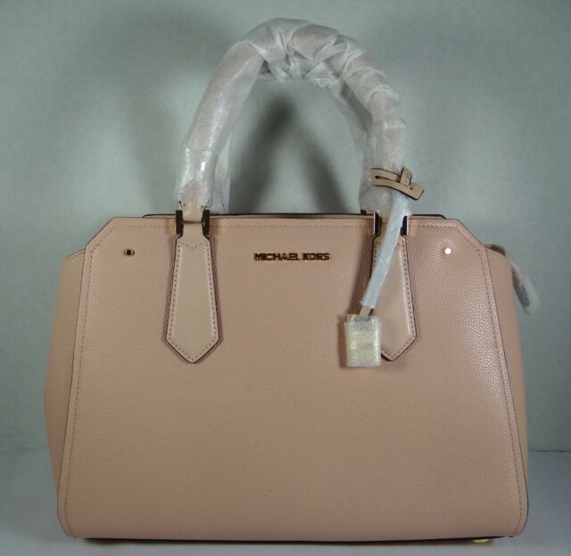 ca75a403abcc Michael Kors Hayes Large Leather Satchel Bag Pastel Pink Crossbody ...