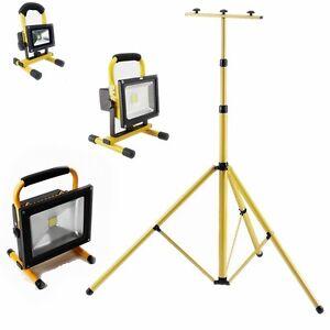 10w 50w gelb akku strahler led fluter kaltwei mit teleskop stativ baustrahler ebay. Black Bedroom Furniture Sets. Home Design Ideas