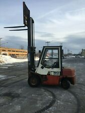 Nissan Pneumatic Tire Forklift Full Cab Withheat 5000lb Cap 128 Lift Gas Powered