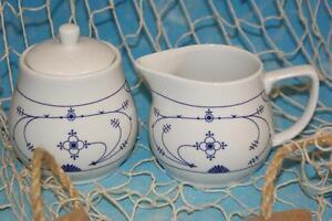 Ocean-Line-Milch-amp-Zuckerset-Milchkaennchen-amp-Zuckerdose-Indisch-Blau-Porzellan