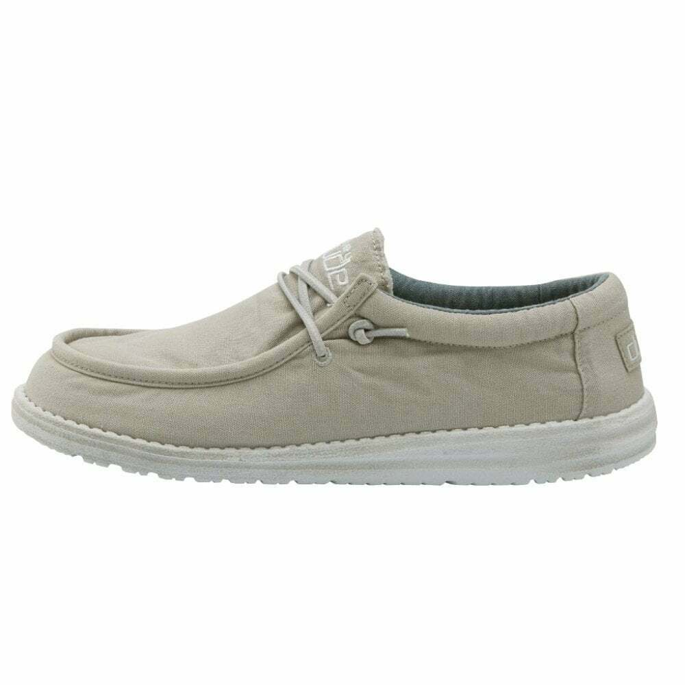 Hey Dude Men's Wally Washed Canvas Arctic White Casual Loafer