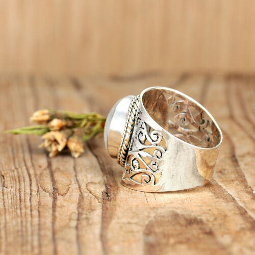 Filigrane moonstone ring sterling silver 925 Cocktail Déclaration Femmes Taille 6 7...