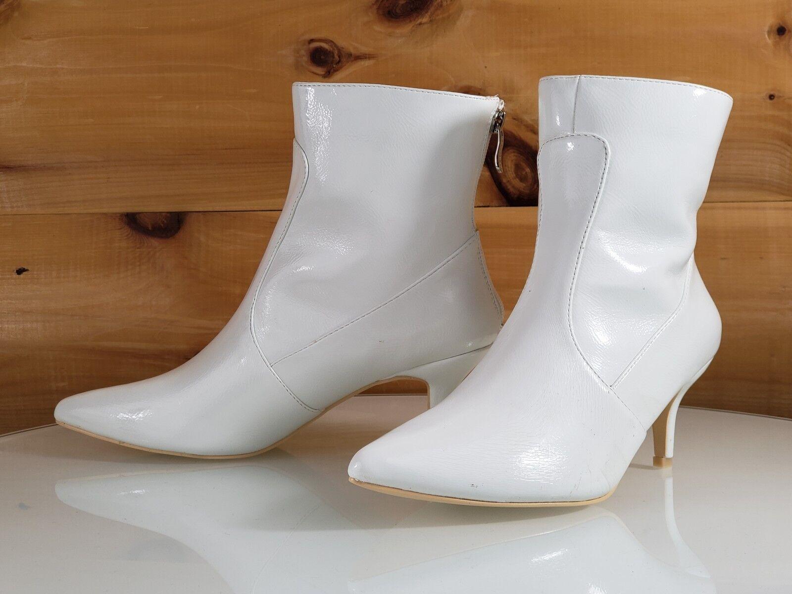 Mac J White Vegan Pointy Toe 2.5 Kitten Heel Ankle Boot 7- 11