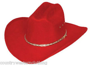 Ladies Red Cowboy Hat   Western Rodeo Stetson Cattleman Style