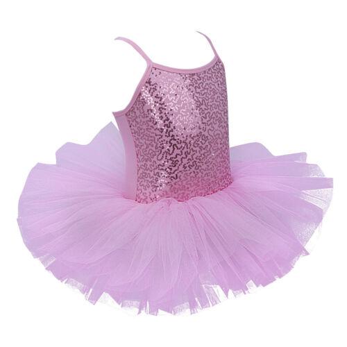 Kids Girls Sequined Leotard Ballet Dress Tutu Camisole Ballerina Dancewear Skirt