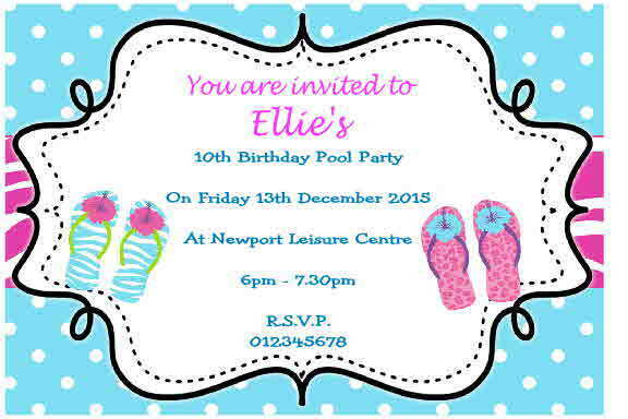 10 Personalised Swimming Pool Party Invitations Thank You Cards