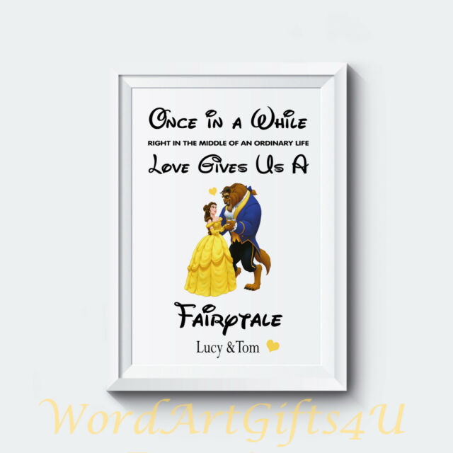 Personalised Engagement Disney Beauty And The Beast Couples Wedding