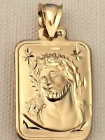 Religous 14k Yellow Jesus Face Virgin Mary 3d Puff Double Side Charm Pandent