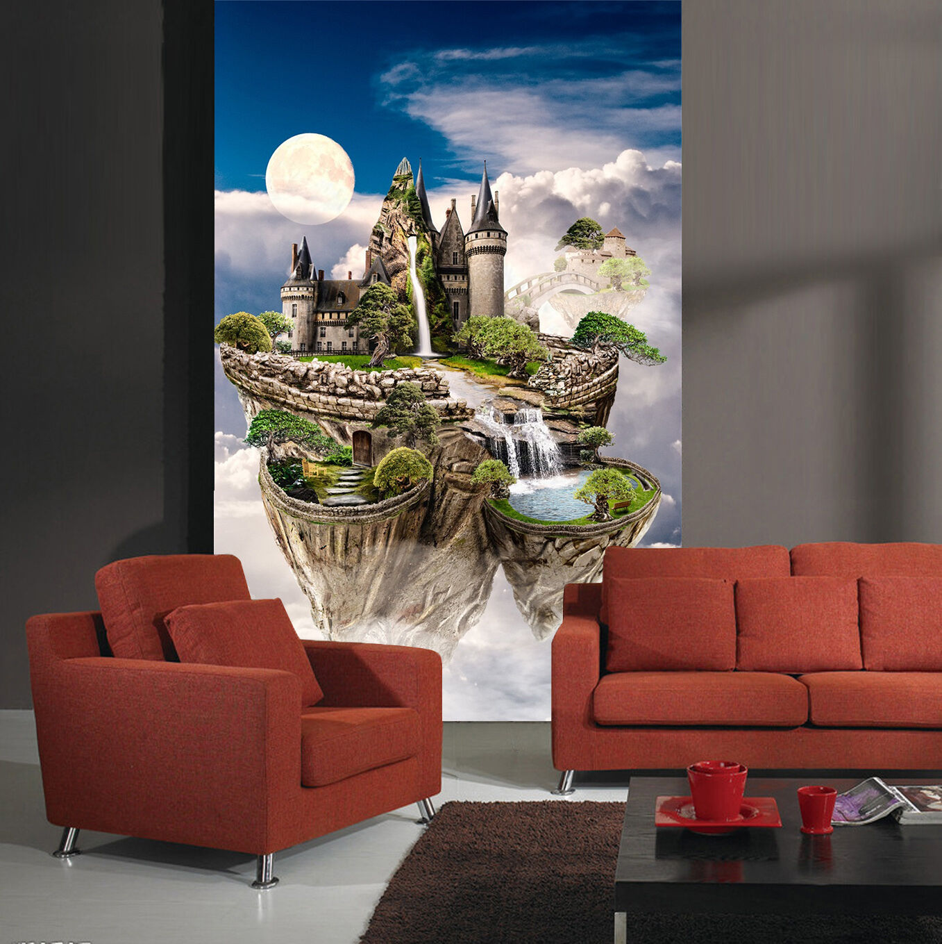 3D Isola Nuvola 6 Parete Murale Foto Carta da parati immagine sfondo muro stampa