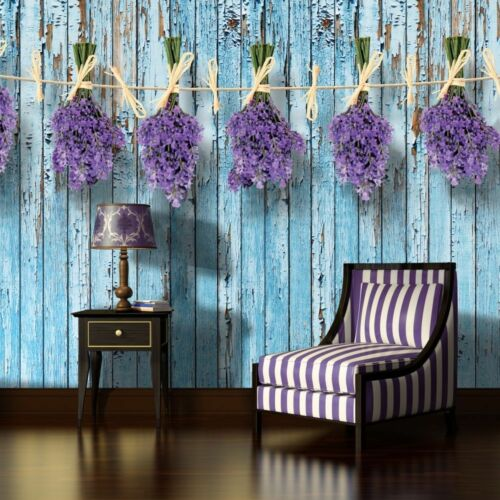 VLIES Tapete Fototapeten Tapeten Lavendel Blumen Blume Holz Bretter 14N1981VEXXL