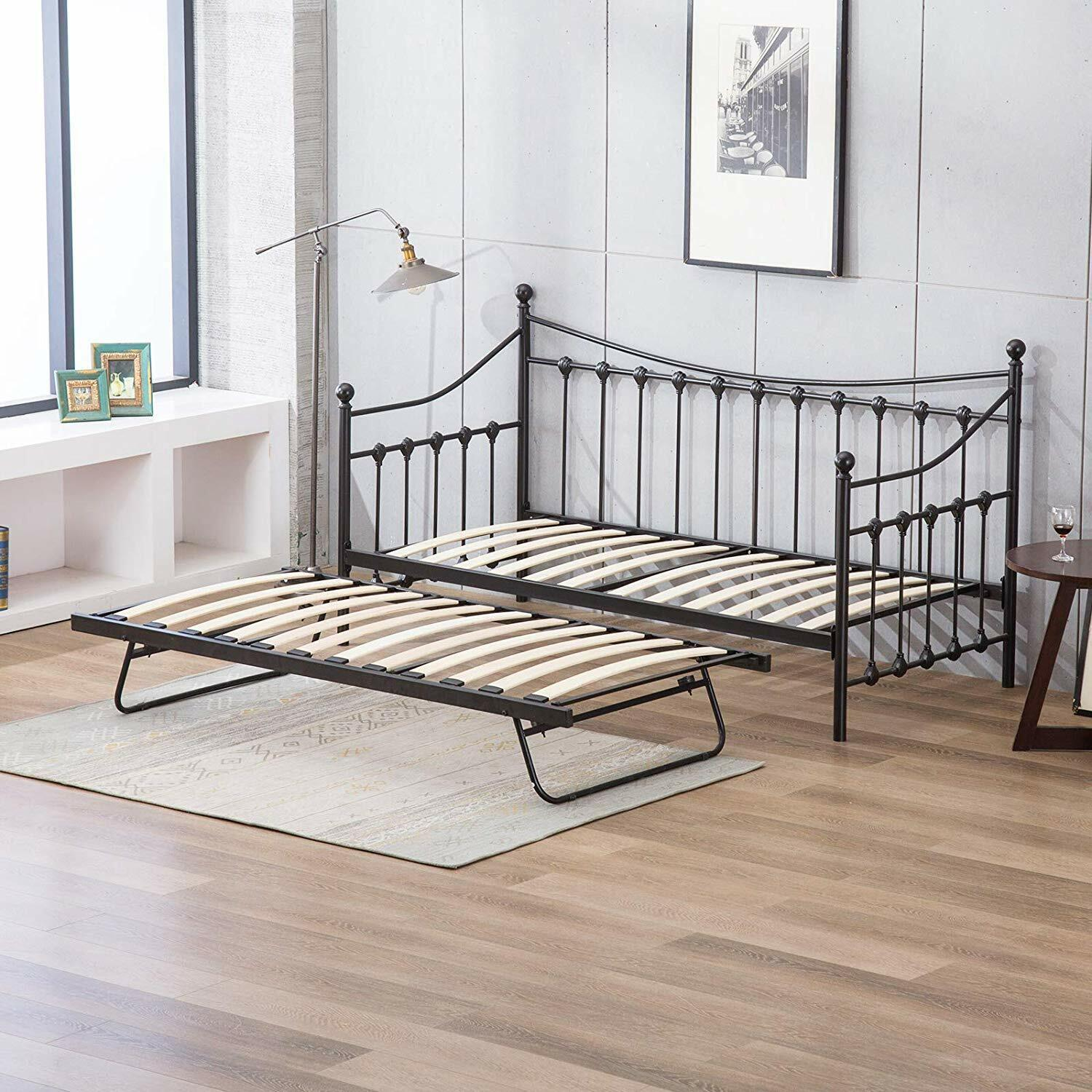 - GLOSSY VANILLA DAY BED VERSAILLES White Metal 3ft Single DayBed