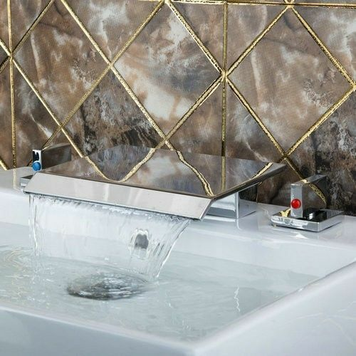 DK cascade 3PCS Chrome salle de bains bassin robinet d'évier Double poignées de baignoire mélangeur robinets
