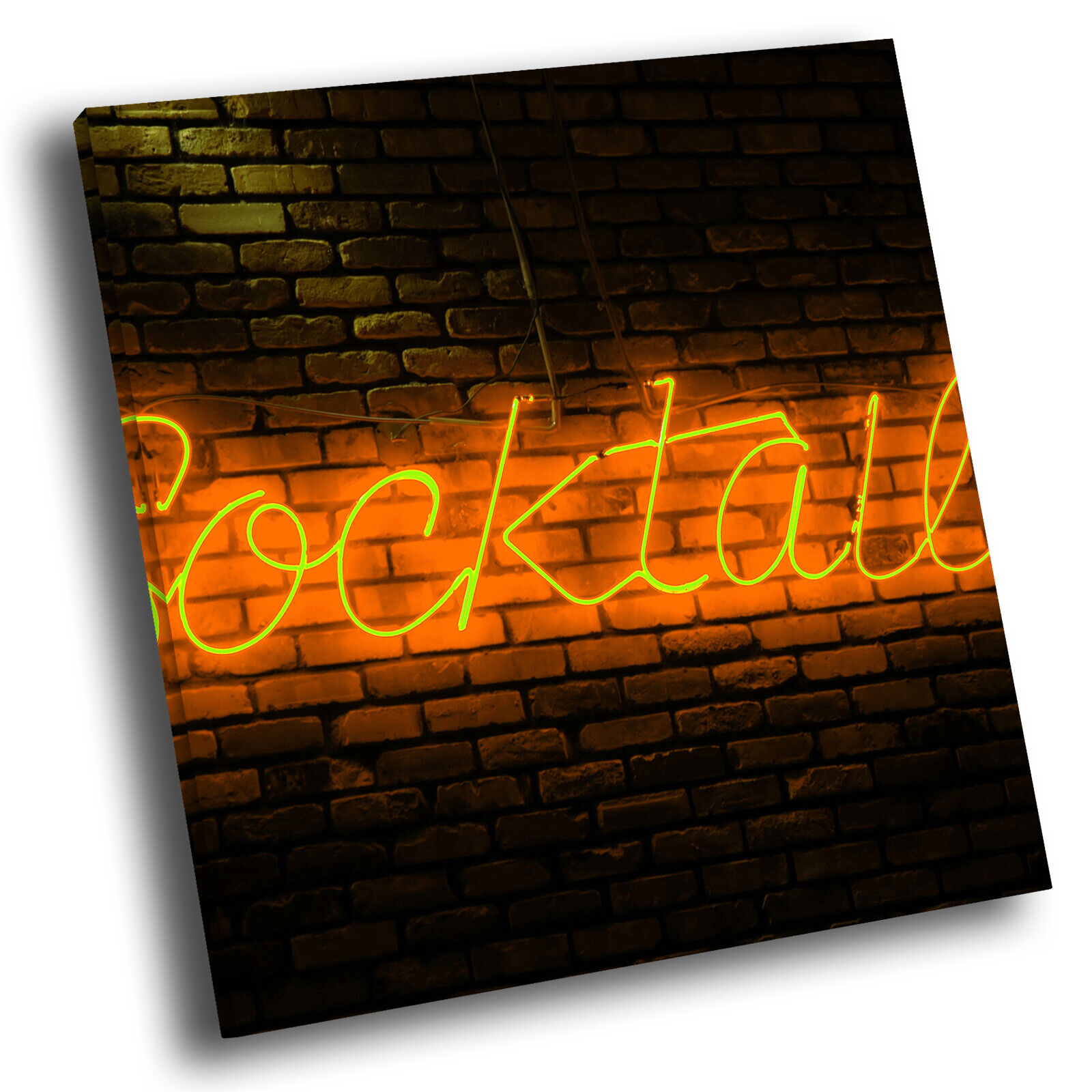 Orange Neon Cocktails Square Abstract Photo Canvas Wall Art Large Picture Prints