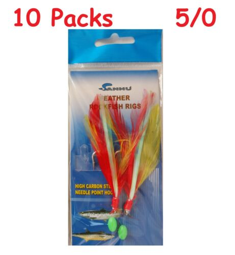 10 Packs 5//0 Rock Cod Feather Red-Yellow Rigs 2 Hooks Feather Rockfish Bait