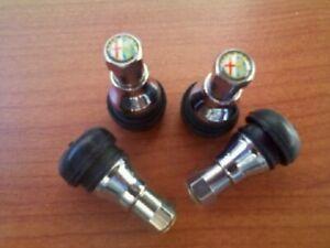 4  Valvole in metallo cromato  per pneumatici tubeless auto  cerchi lega e ferro
