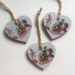 Peter-Rabbit-Christmas-Handmade-Wooden-Hanging-Hearts-tree-Decorations-set-of-3