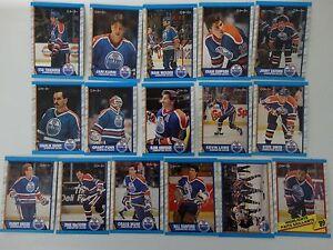 1989-90-O-Pee-Chee-OPC-Edmonton-Oilers-Team-Set-of-16-Hockey-Cards