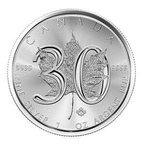 2018 $5 1oz Canadian Silver Maple Leaf 30th Anniversary .9999