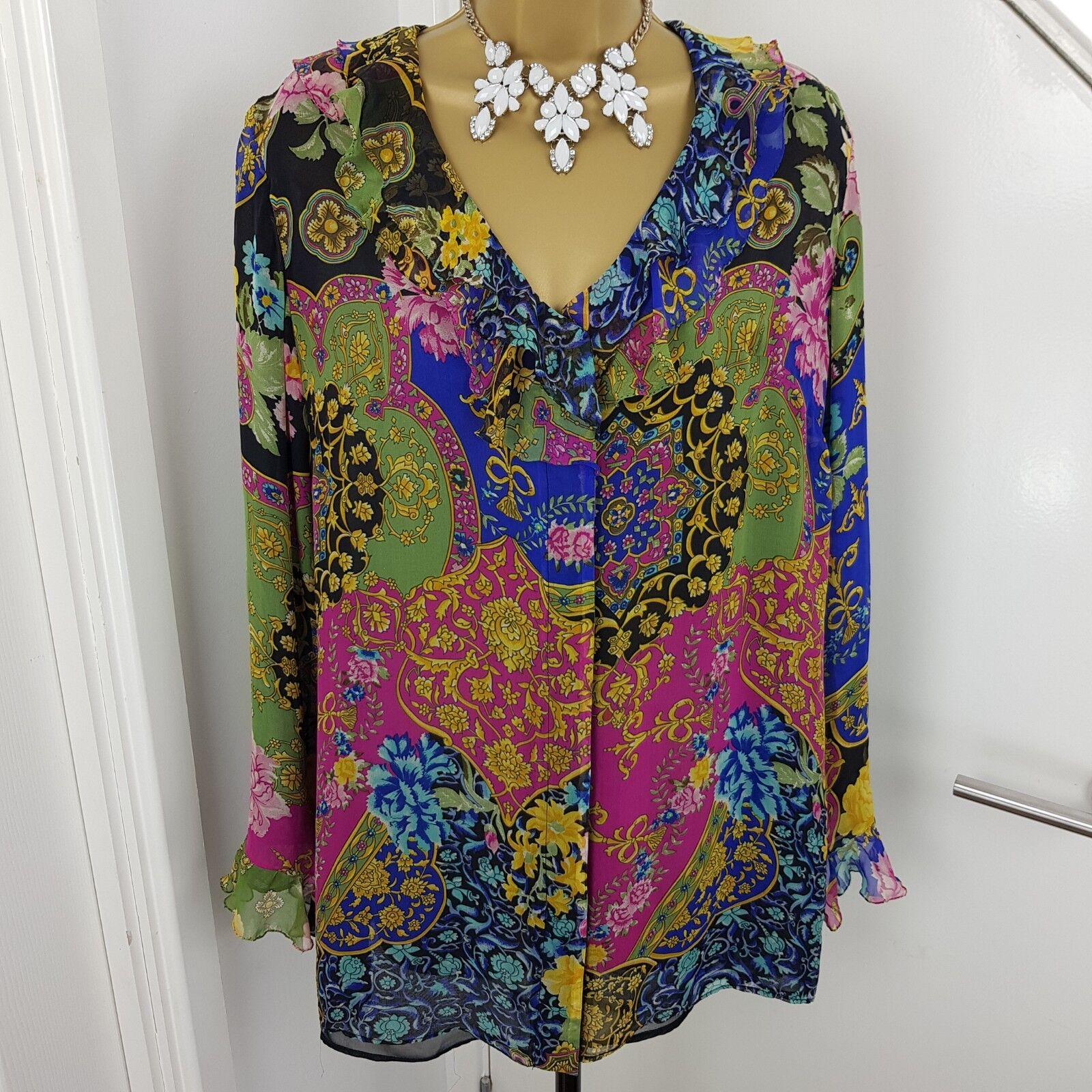 Leonard Cezair Couture Top Ruffle V Neck Buttoned Shirt Printed Größe
