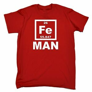 Iron man fe periodic table elements t shirt science fitness birthday image is loading iron man fe periodic table elements t shirt urtaz Choice Image