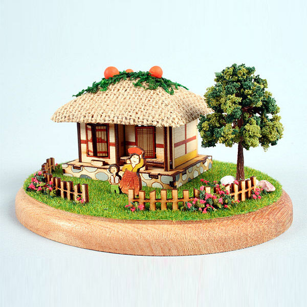 YM983 Diorama Mini House Series - Korean Thatched-roof house Wooden Model Kit
