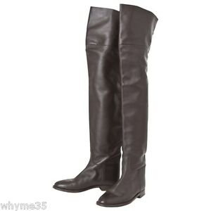 Rare Hermes Brown Leather Thigh High Boots 37 / 7 Super Rare ...