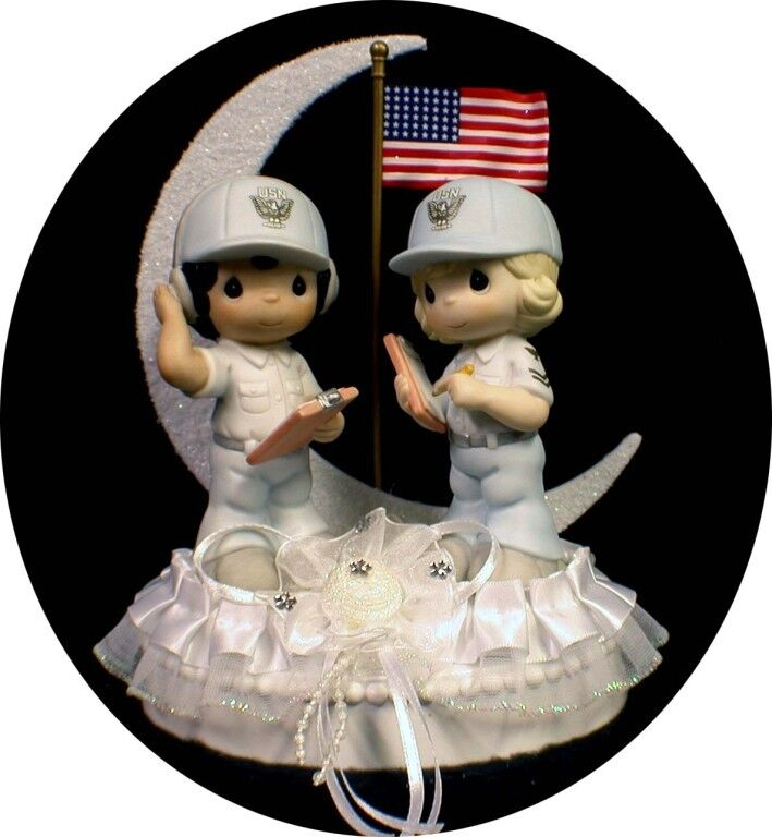 Bride Bride Bride Groom Soldier PRECIOUS MOUomoT Wedding Cake Topper Marine, coast gaurd navy 292e14
