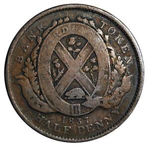 1837 Half Penny Province Du Bas Canada Bank Token Coin