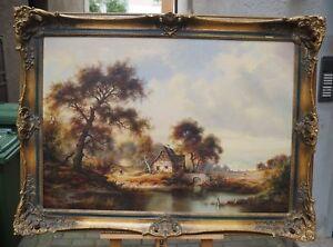 Karl-Heinz-Stienen-1929-2000-Weite-Landschaft-mit-Wanderern-Lupenmalerei