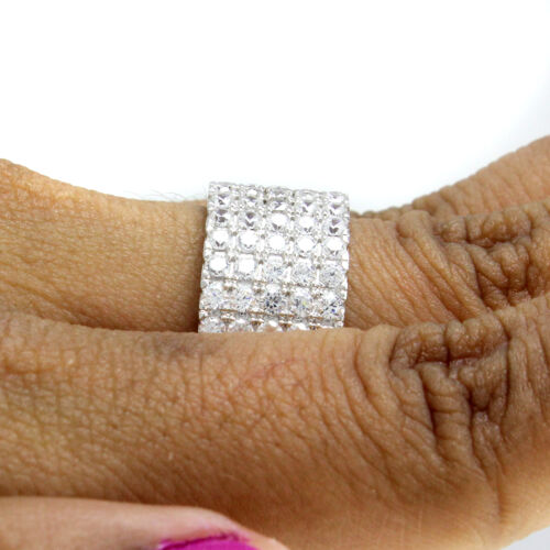 Details about  /14k White Gold Over Round Cut Simulated Prong Set Cluster Band Ring Size 8