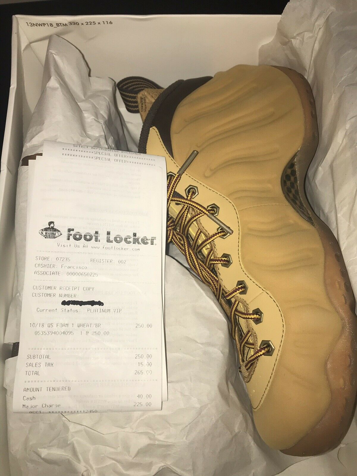 NIKE AIR FOAMPOSITE WHEAT SIZE 9.5 BRAND NEW