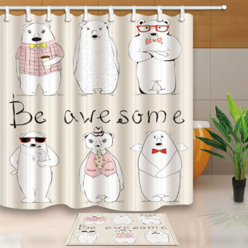 Hand Drawn Hipster Awesome Bears Bathroom Fabric Shower Curtain Set 71Inches
