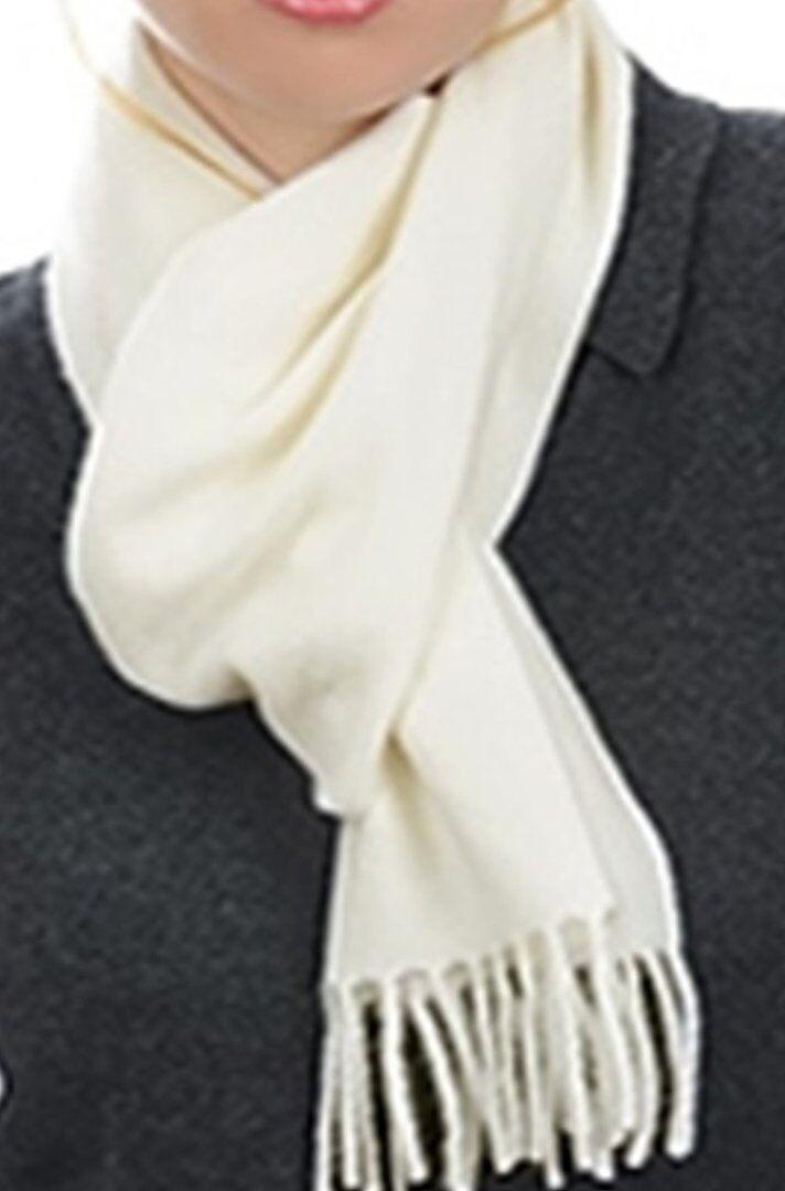 Balldiri 100% Cashmere Schal 200 x 35 cm 4-fädig gewebt ecru