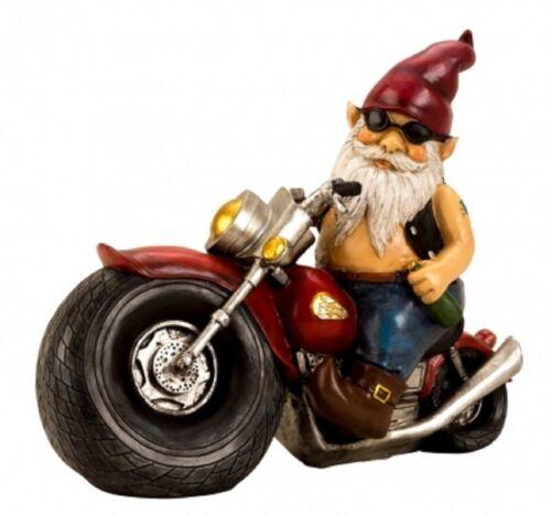 Gartenzwerg auf Motorrad 35 cm Zwerg Figur Motorradzwerg Gartenfigur