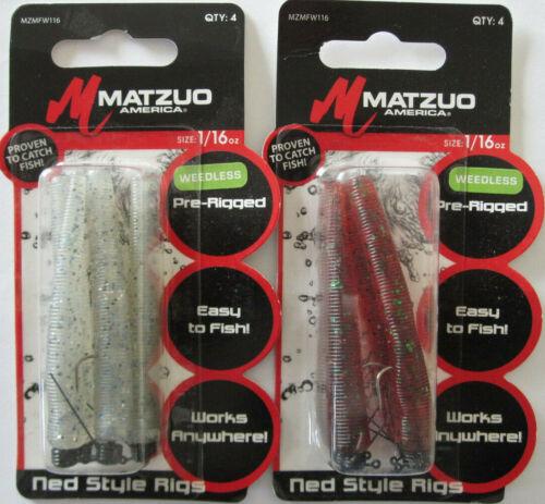4//Pk - Cinnamon Green /& Smoke 2 1//16 oz MATZUO Weedless Ned Style Rigs
