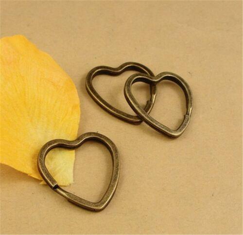 P1481 4pc Antique Bronze Strong heart Split KEY Ring keyring hoop metal loop