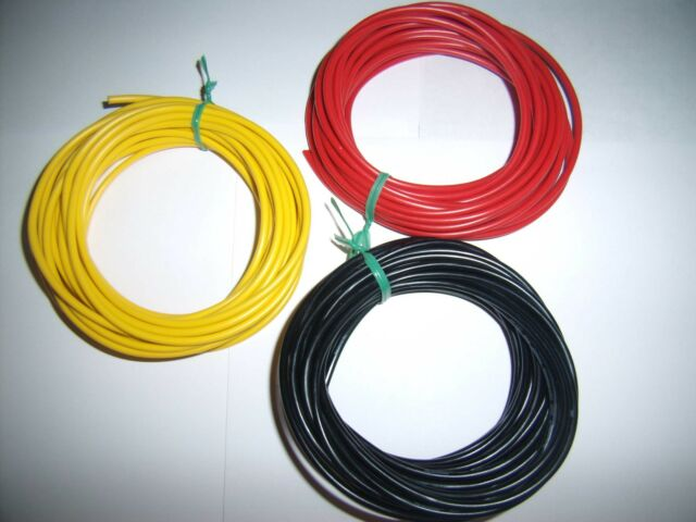 60 Ft 16 Gauge AWG Ga Black Red Yellow Car Audio Alarm Primary Wire 12V Combo