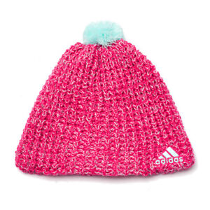 c83f21177afde Details about Adidas Accessories Climaheat Womens Girls Wool Crochet Beanie  Pink M66840 UW47