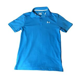 Under Armour Loose Blue Mens Short Sleeve Golf Polo Adult Small Shirt Heat Gear